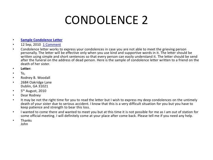 CONDOLENCE ...  Formal Condolence Letter