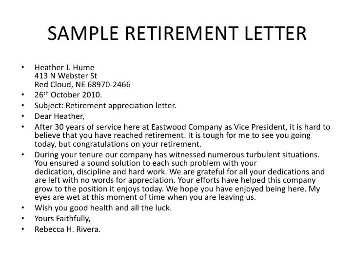 Bsnsletters for Retirement letter from employer to employee template