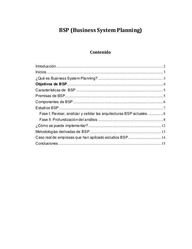 BSP (Business System Planning) Contenido Introducción........................................................................