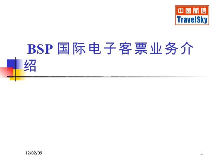 BSP 国际电子客票业务介绍