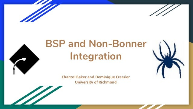 BSP and Non-Bonner Integration Chantel Baker and Dominique Cressler University of Richmond
