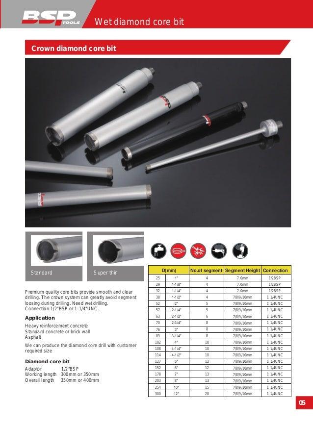22mm Dry Diamond Core Drill 300 mm effective length 1//2 bsp female