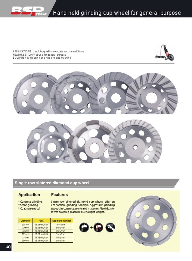 Diamond grinding cup plate catalog from diamond tools