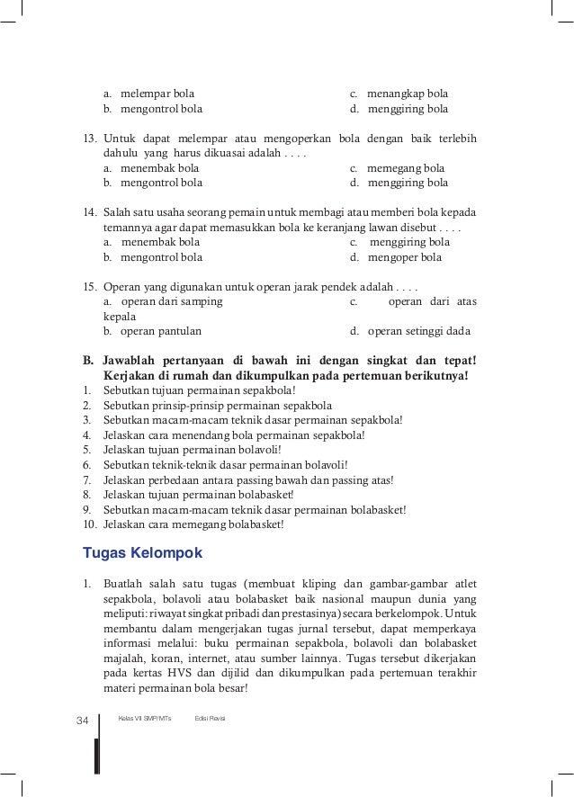 Buku Siswa Pjok Kelas Vii Smp Kurikulum 2013