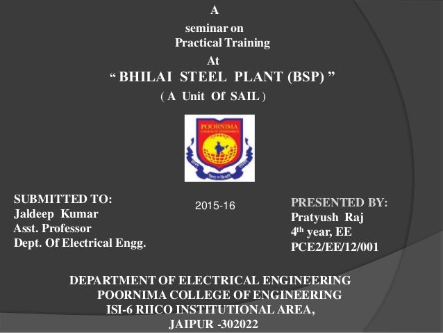 Conclusion of training and development in steel plant