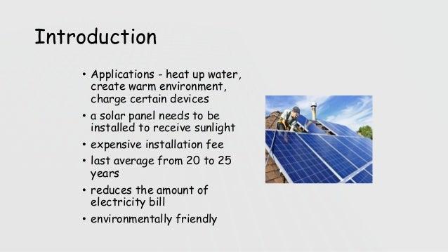 Renewable energy presentation residential solar panel.