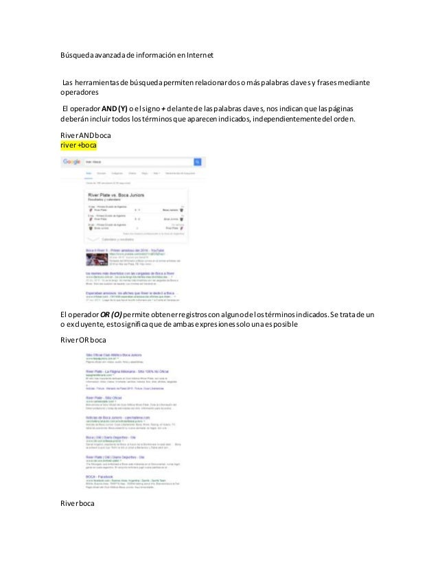 Búsquedaavanzadade informaciónenInternet Las herramientasde búsquedapermitenrelacionardoso máspalabrasclavesy frasesmedian...