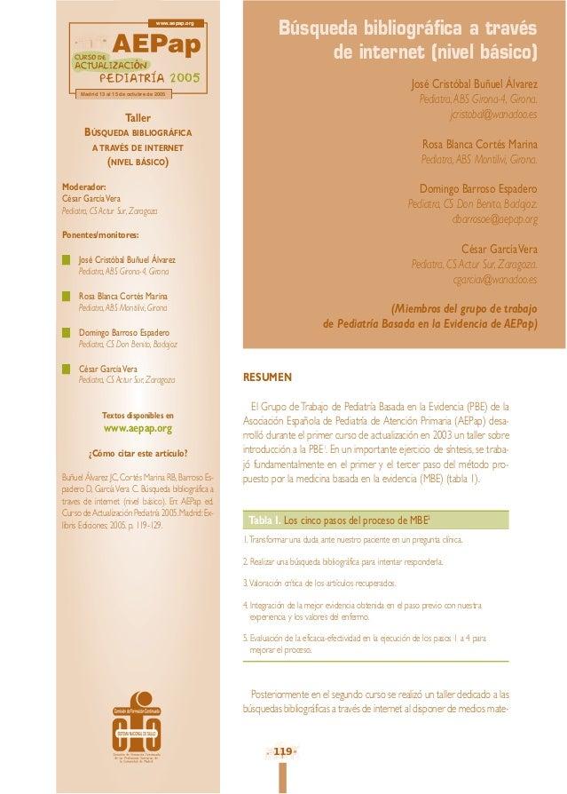 RESUMEN El Grupo deTrabajo de Pediatría Basada en la Evidencia (PBE) de la Asociación Española de Pediatría de Atención Pr...