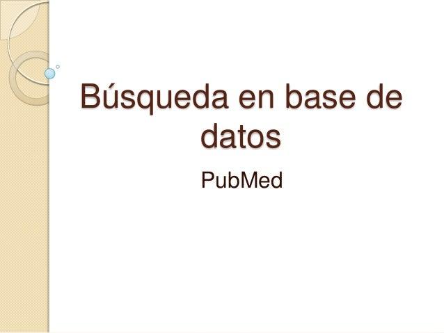 Búsqueda en base de datos PubMed