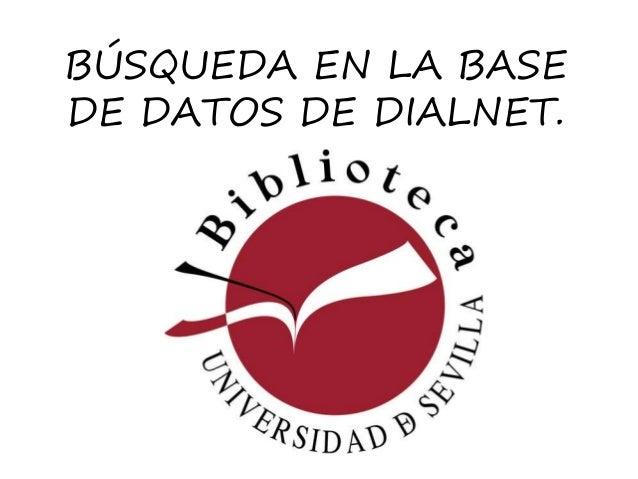 BÚSQUEDA EN LA BASE DE DATOS DE DIALNET.