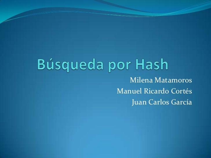 Búsqueda por Hash<br />Milena Matamoros<br />Manuel Ricardo Cortés<br />Juan Carlos García<br />