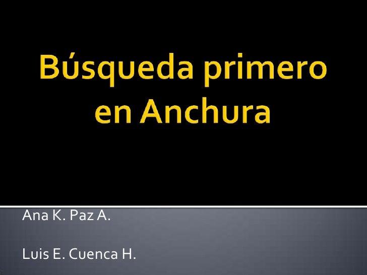 Búsqueda primero en Anchura<br />Ana K. Paz A.<br />Luis E. Cuenca H. <br />