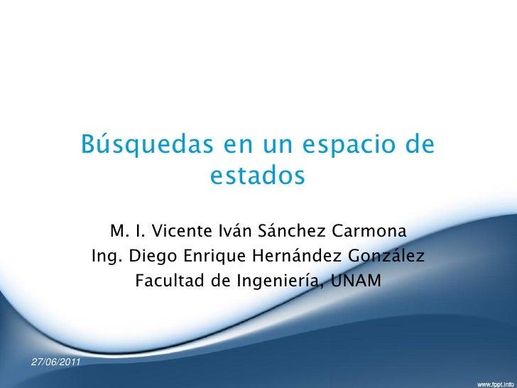 Búsquedas en un espacio de                      estados               M. I. Vicente Iván Sánchez Carmona             Ing. ...