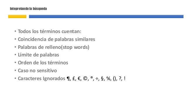 Intepretando la búsqueda • Todos los términos cuentan: • Coincidencia de palabras similares • Palabras de relleno(stop wor...
