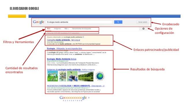 EL BUSCADOR GOOGLE Filtros y Herramientas Cantidad de resultados encontrados Enlaces patrocinados/publicidad Resultados de...
