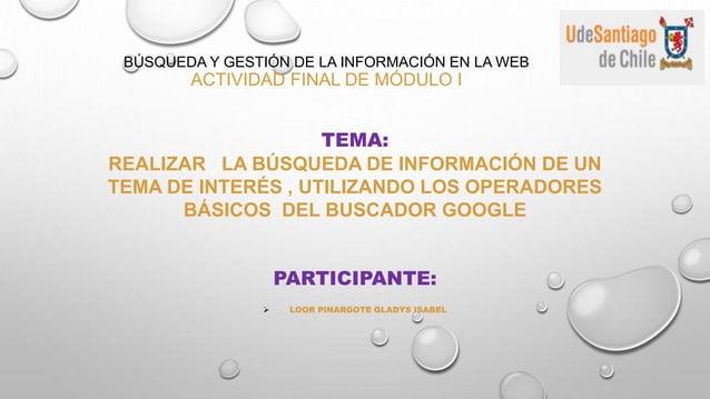 BÚSQUEDA Y GESTIÓN DE LA INFORMACIÓN EN LA WEB ACTIVIDAD FINAL DE MÓDULO I TEMA: REALIZAR LA BÚSQUEDA DE INFORMACIÓN DE UN...