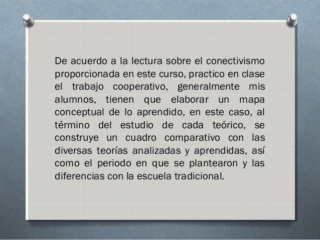 De acuerdo a la lectura sobre el conectivismo proporcionada en este curso, practico en clase el trabajo cooperativo, gener...