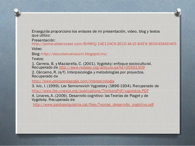 Enseguida proporciono los enlaces de mi presentación, video, blog y textos que utilizo: Presentación: http://portal.slider...