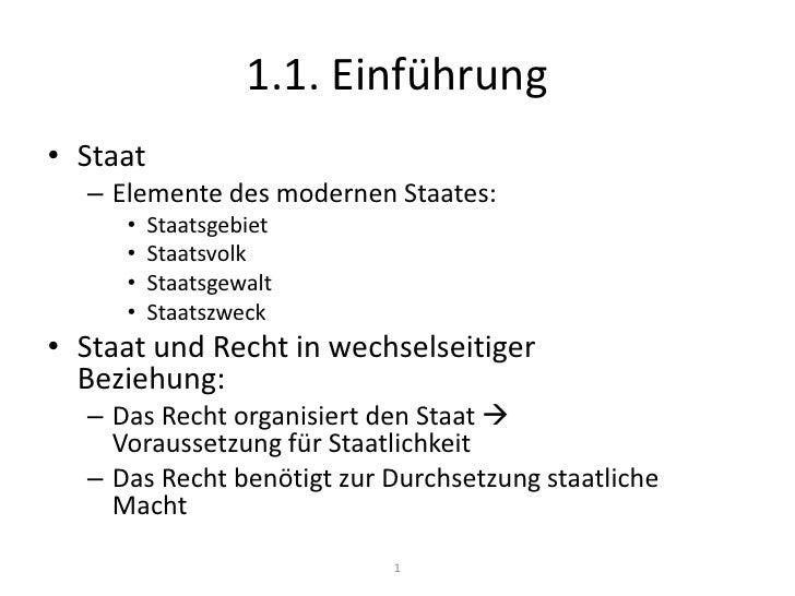 1.1. Einführung<br />Staat<br />Elemente des modernen Staates:<br />Staatsgebiet<br />Staatsvolk<br />Staatsgewalt<br />St...