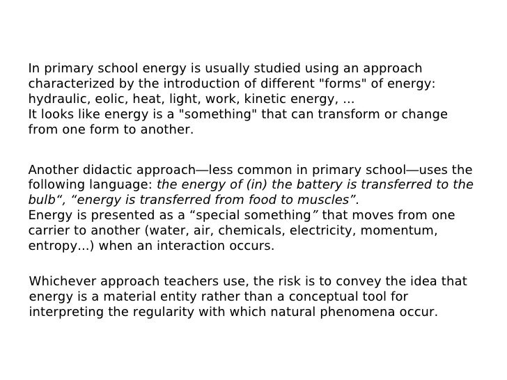 An Approach To The Concept Of Energy For Primary School Disciplinary