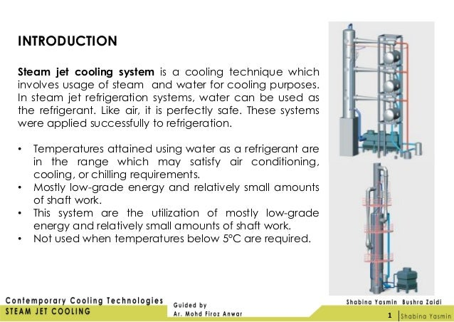 steam jet refrigeration system In this paper a feasibility study of steam-jet refrigeration is conducted first and second law analyses as well as the economics of a steam-jet refrigeration system are presented thermodynamic parameters investigated include the coefficient of performance (cop), refrigerating effect, condenser heat rejection, motive steam.