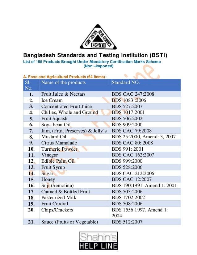 bsti bangladesh standards slideshare