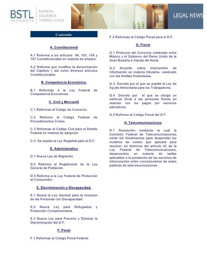 Contenido                                                  F.2 Reformas al Código Penal para el D.F. ...