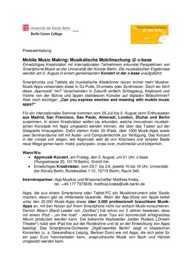 Presseeinladung Mobile Music Making: Musikalische Mobilmachung @ c-base Einwöchiges Kreativlabor mit internationalen Teiln...