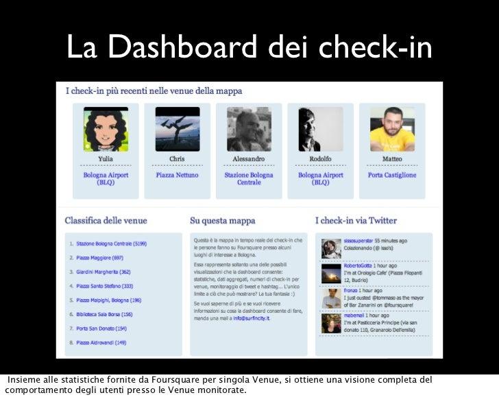 La Dashboard dei check-in Insieme alle statistiche fornite da Foursquare per singola Venue, si ottiene una visione complet...
