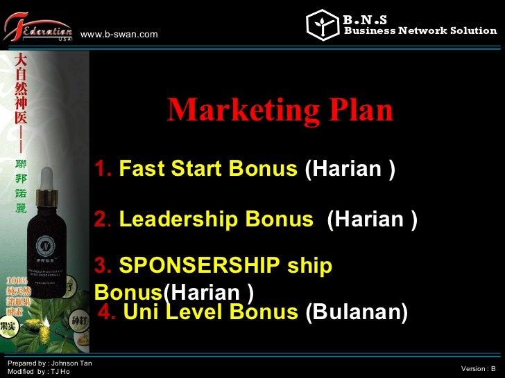 www.b-swan.com Prepared by : Johnson Tan Modified  by : TJ Ho Version : B Marketing Plan   1.  Fast Start Bonus   (Harian ...