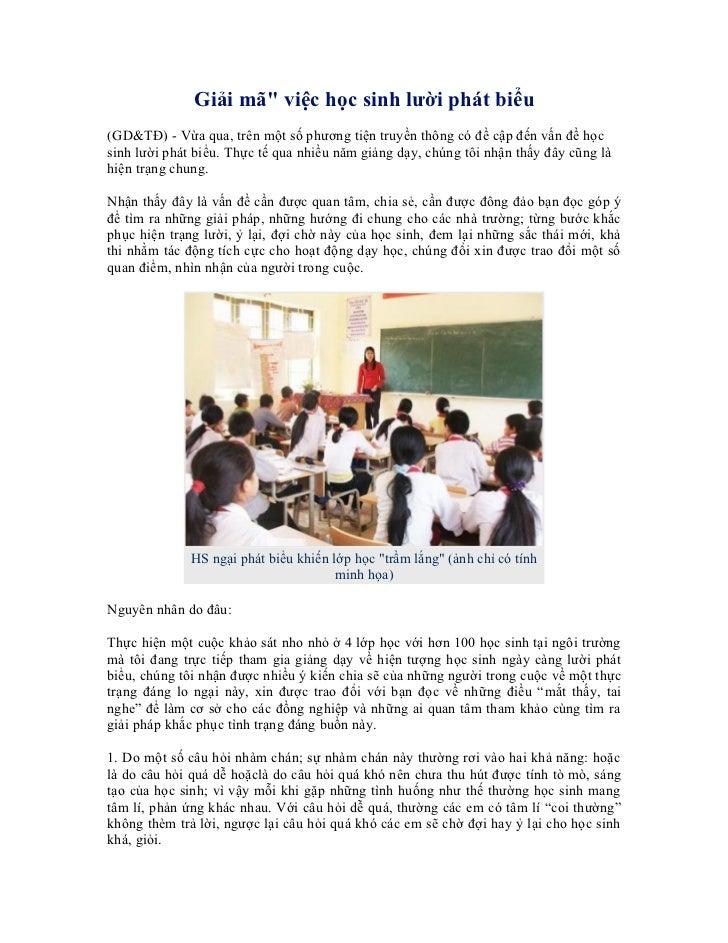 """Giải mã"""" việc học sinh lười phát biểu(GD&TĐ) - Vừa qua, trên một số phương tiện truyền thông có đề cập đến vấn đề họcsinh ..."""