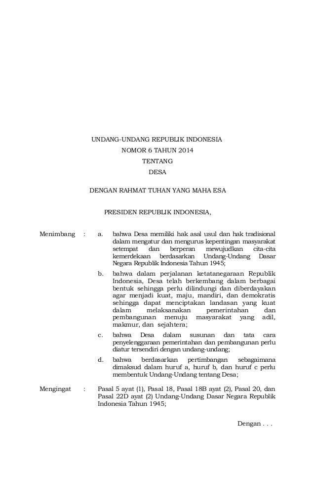 UNDANG-UNDANG REPUBLIK INDONESIA NOMOR 6 TAHUN 2014 TENTANG DESA DENGAN RAHMAT TUHAN YANG MAHA ESA PRESIDEN REPUBLIK INDON...