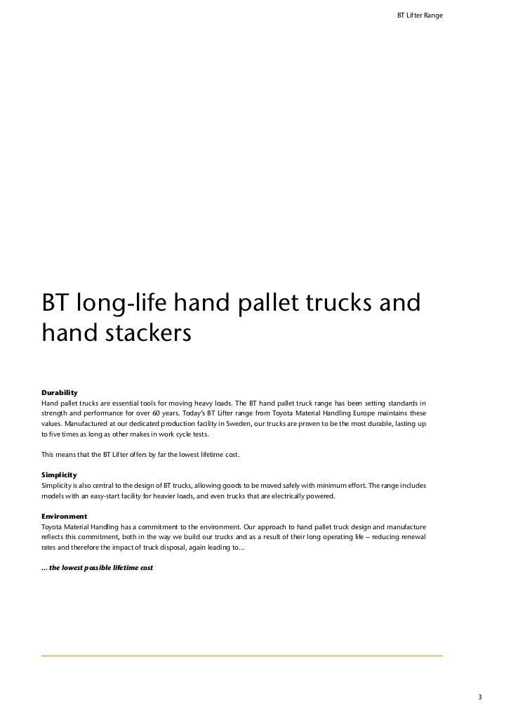 Tmhe Hand Pallet Trucks Make Material Handling Easy Bt Lifter Range