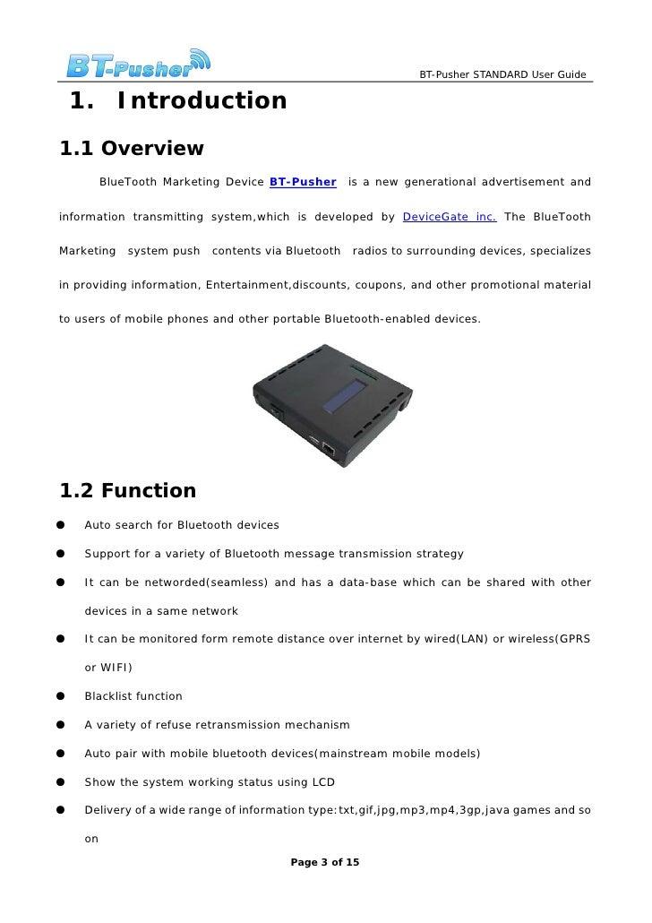 BlueTooth Marketing Device BT-Pusher Standard User Guide Slide 3