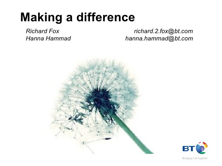 Making a difference Richard Fox  [email_address] Hanna Hammad  [email_address]