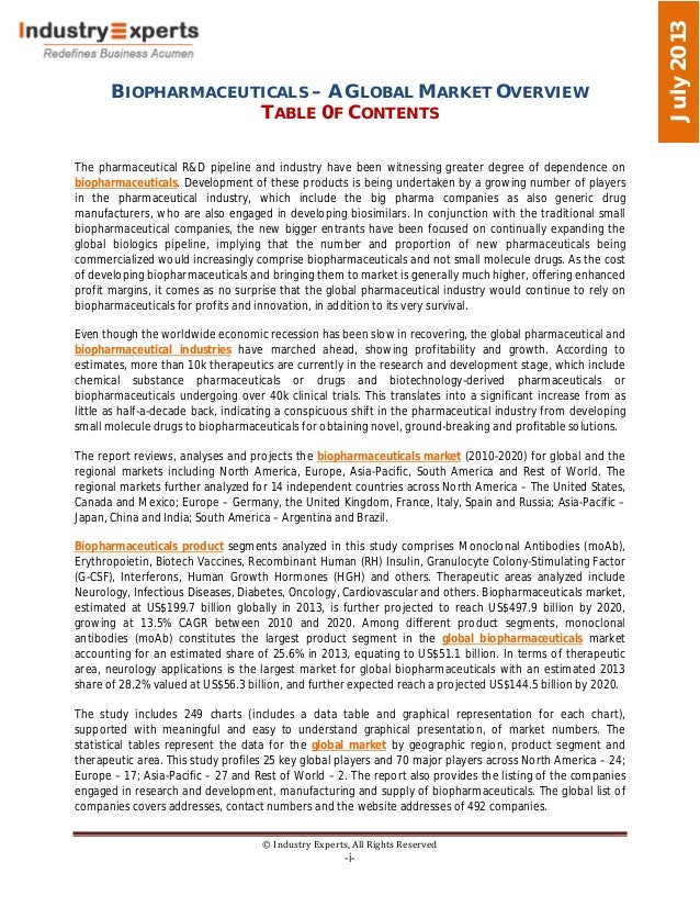 BIOPHARMACEUTICALS – A GLOBAL MARKET OVERVIEW TABLE 0F CONTENTS © Industry Experts, All Rights Reserved -i- July2013 The p...