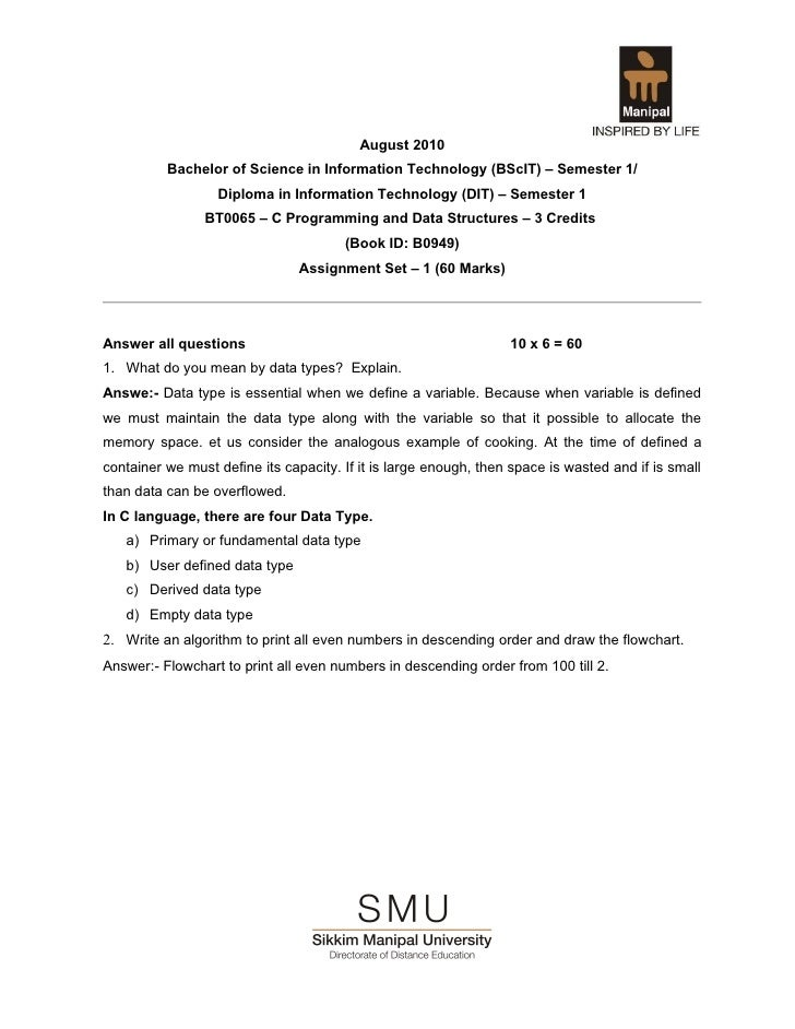 August 2010          Bachelor of Science in Information Technology (BScIT) – Semester 1/                  Diploma in Infor...