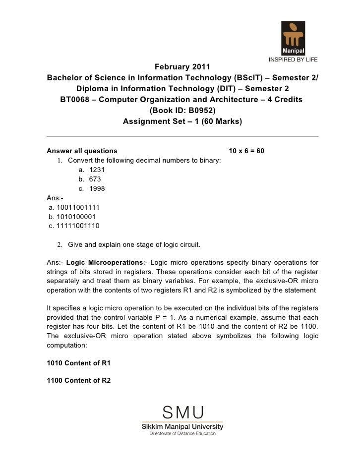 February 2011Bachelor of Science in Information Technology (BScIT) – Semester 2/      Diploma in Information Technology (D...
