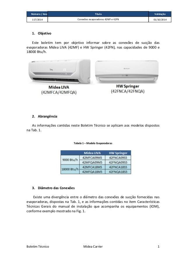 Número / Ano Validação 117/2014 01/10/2014 Título Conexões evaporadoras 42MF e 42FN Boletim Técnico Midea Carrier 1 1. Obj...