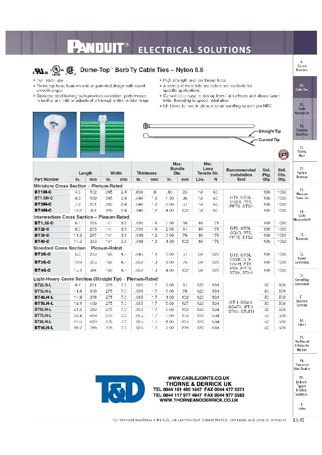 "mDUIT® ELECTRICAL SOLUTIONS        _ System ""y = ®us  Dome-Top® Barb Ty Cable Ties — Nylon 6.6 ovewiew '7 ""5 LISTED 0 Us -..."