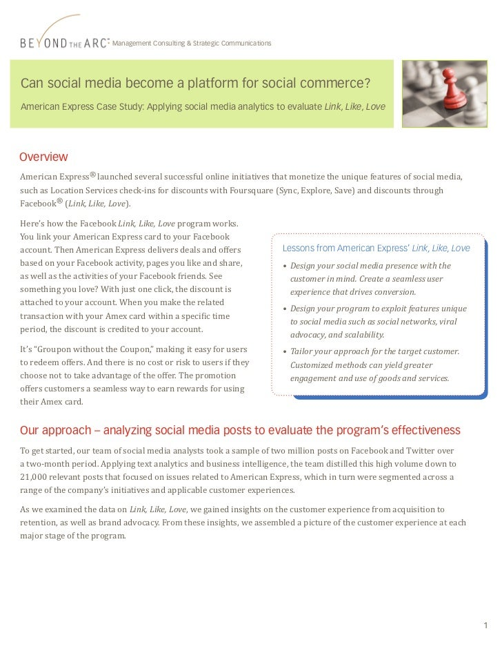 Management Consulting & Strategic CommunicationsCan social media become a platform for social commerce?American Express Ca...