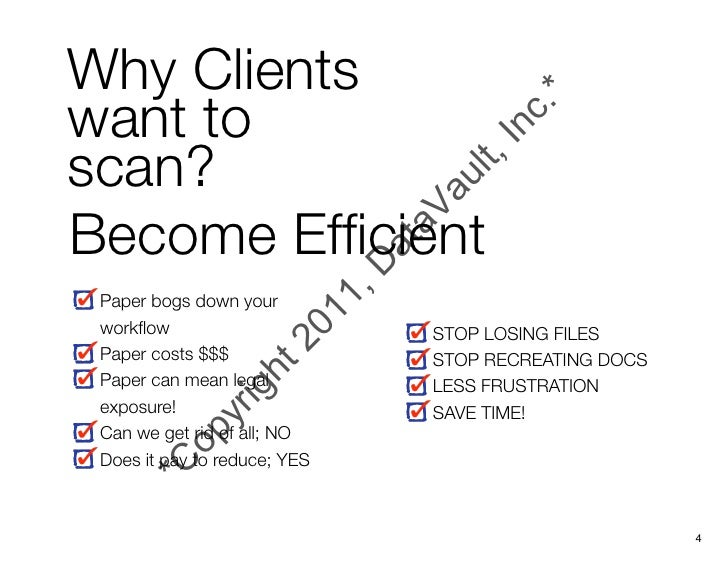 Why Clientswant toscan?Become Efficient Paper bogs down your workflow                      STOP LOSING FILES Paper costs $$$...