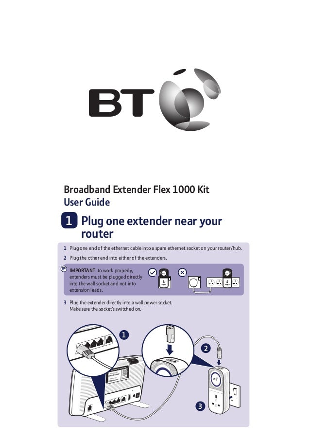 Broadband Extender Flex 1000 Kit User Guide 	1	Plug one extender near your router 1	 Plug one end of the ethernet cable in...