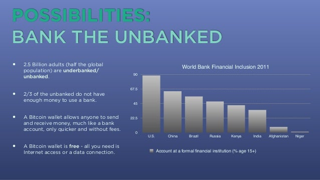 • 2.5 Billion adults (half the global population) are underbanked/ unbanked. • 2/3 of the unbanked do not have enough mone...