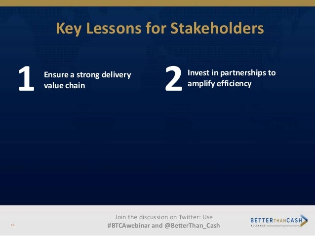 Key Lessons for Stakeholders 1 Ensure a strong delivery value chain 2Invest in partnerships to amplify efficiency Join the...