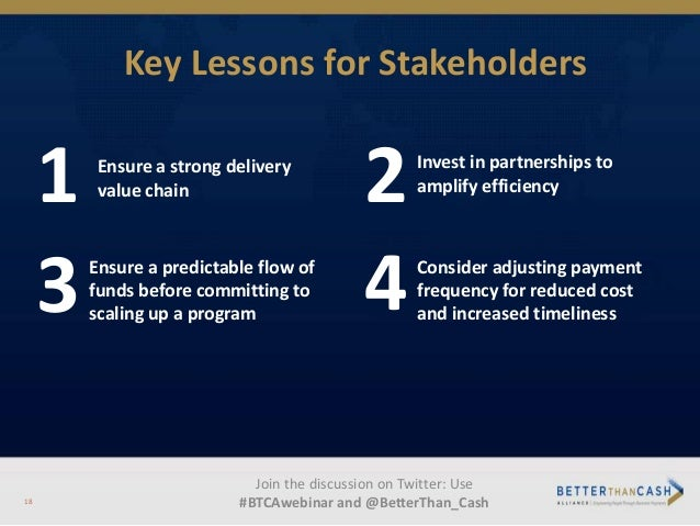 Key Lessons for Stakeholders 1 Ensure a strong delivery value chain 3Ensure a predictable flow of funds before committing ...