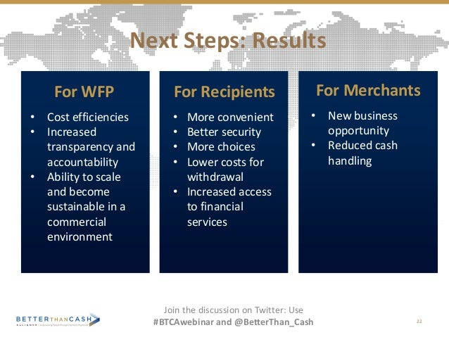 Next Steps: Results 22 Join the discussion on Twitter: Use #BTCAwebinar and @BetterThan_Cash For Recipients • More conveni...
