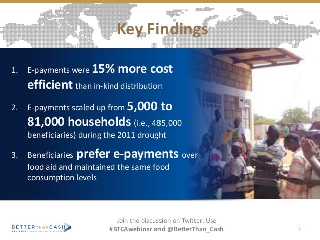 Key Findings 1. E-payments were 15% more cost efficient than in-kind distribution 2. E-payments scaled up from 5,000 to 81...