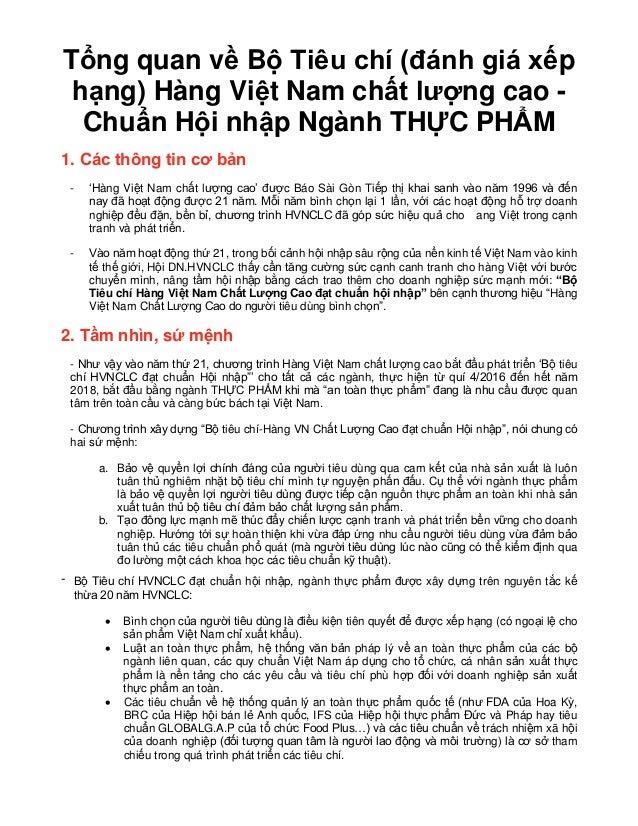 Tổng quan về Bộ Tiêu chí (đánh giá xếp hạng) Hàng Việt Nam chất lượng cao - Chuẩn Hội nhập Ngành THỰC PHẨM 1. Các thông ti...