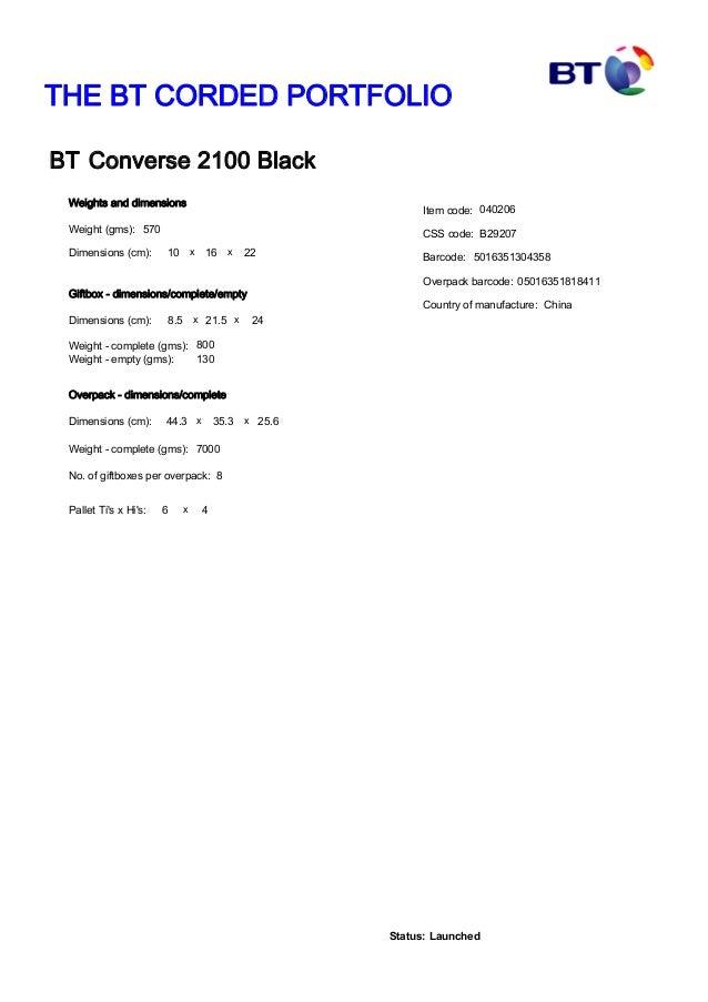 Bt Converse 2100 Data Sheet